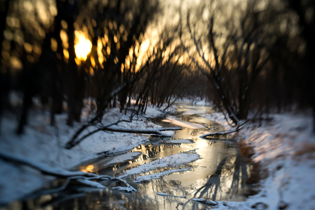lensbaby, spark, creek, landscape, iowa, sunset, snow, nature, sutliff, photography, art