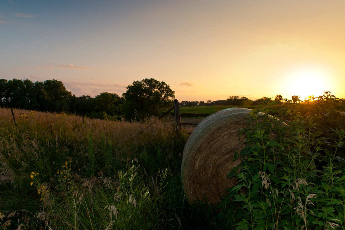 iowa, nature, landscape, flash, shadow, sunset, corn, bale, sunset